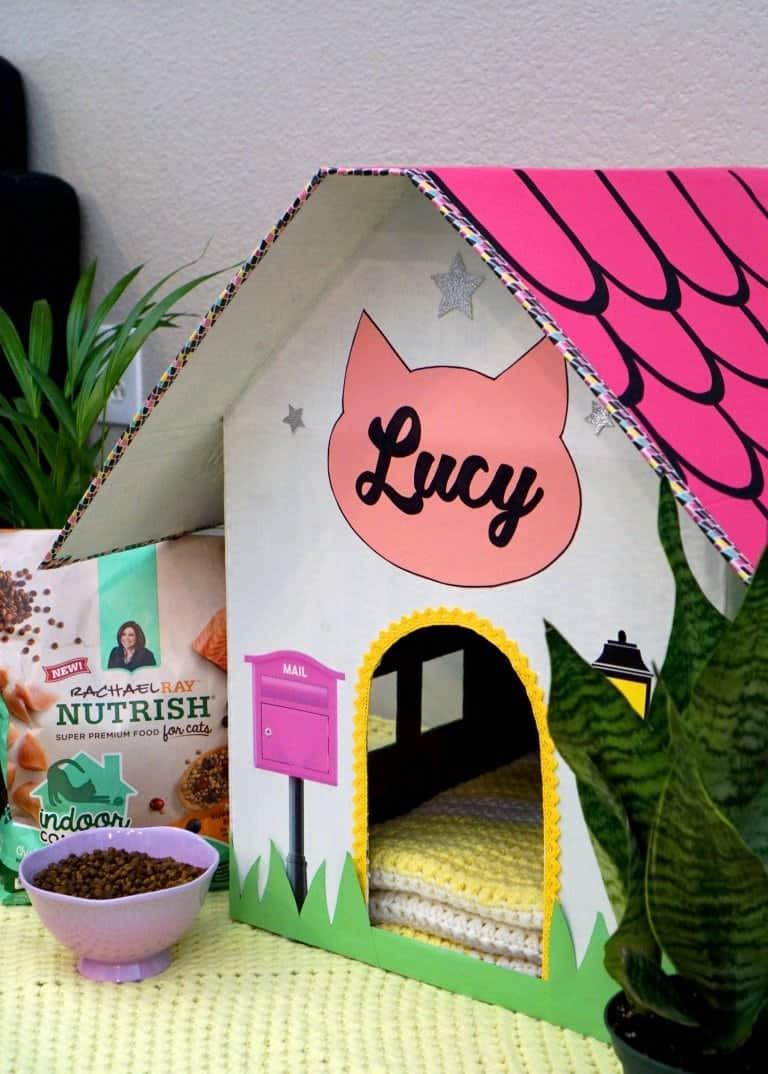 Easy embellished cardboard cat house