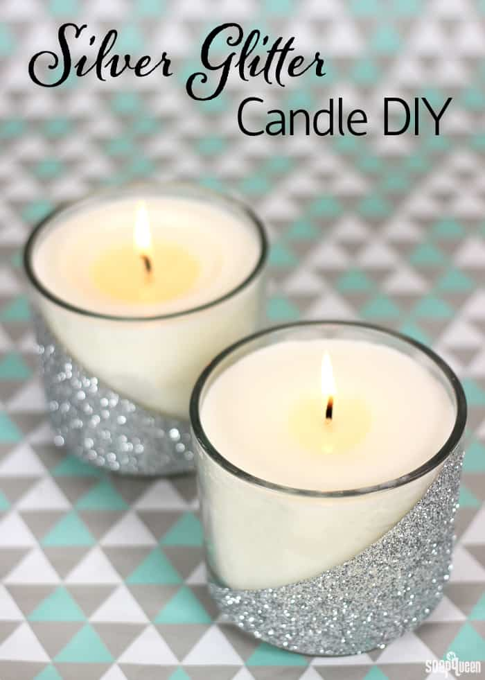Easy silver glitter candle