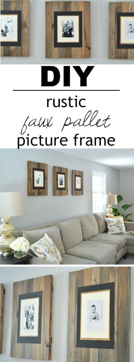 Faux distressed wall pallet frames