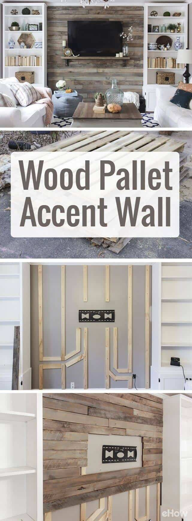 Floor to ceiling pallet wall paneling