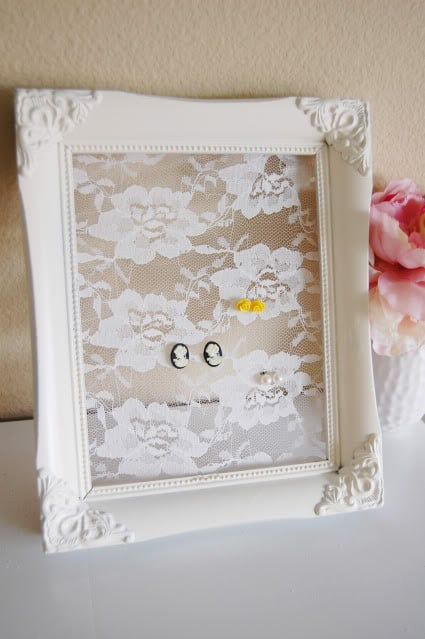 Framed lace earring holder