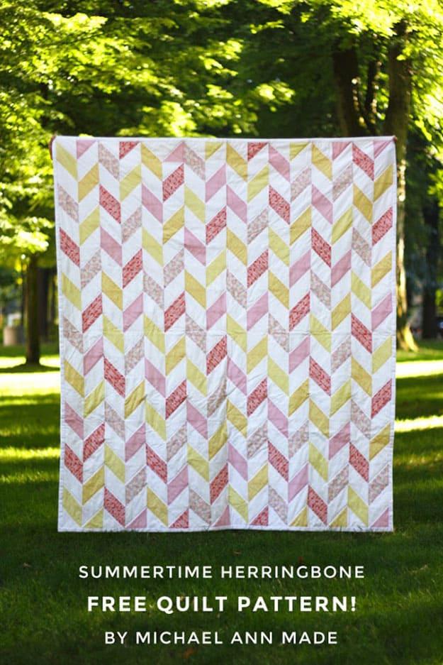 Free quilt pattern herringbone