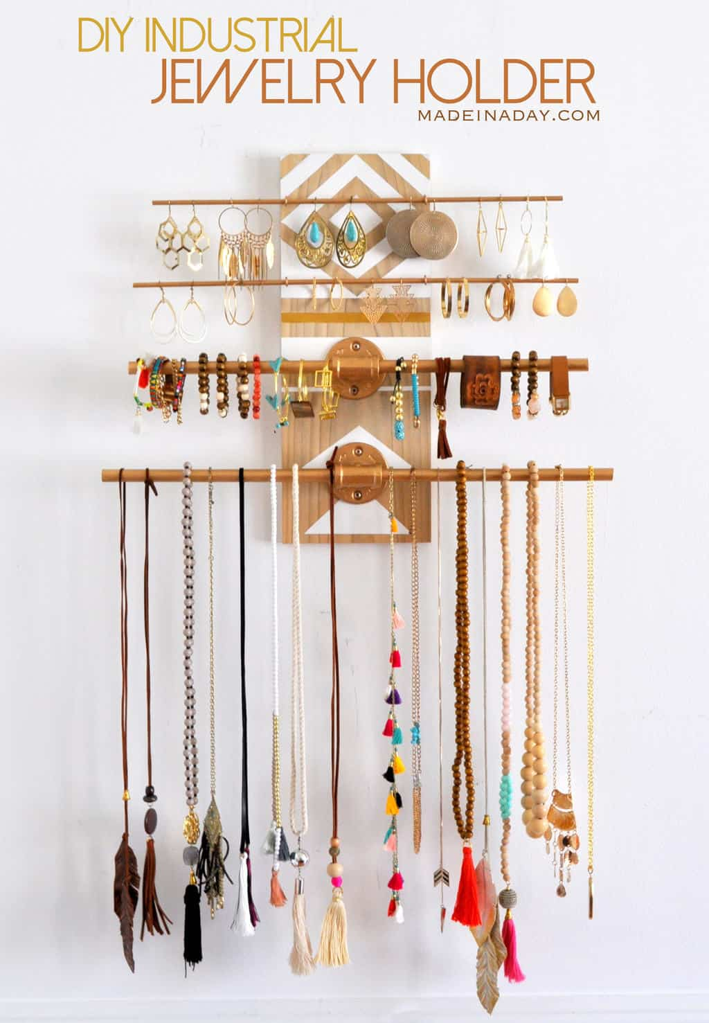 Geometric and industrial inspired pipe jewelry organizer