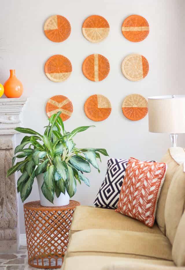 Geometric straw plate wall art