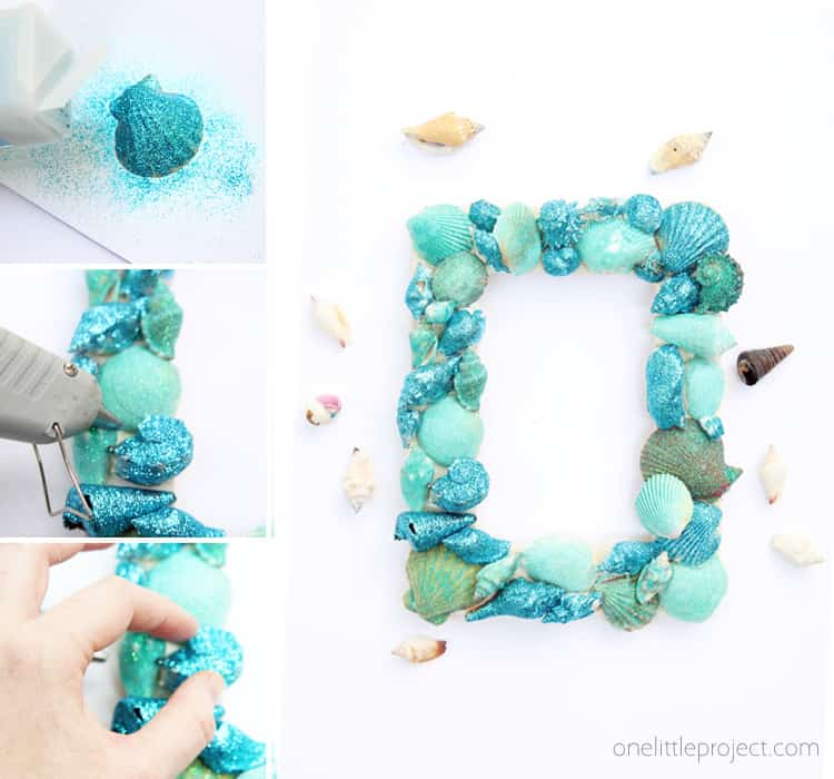 Glitter seashell pictture frame