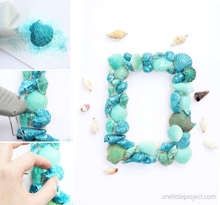 قاب تصویر گلدان دریایی زرق و برق دار
