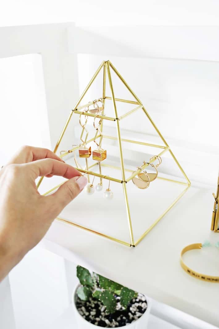 Golden pyramid jewelry organizer