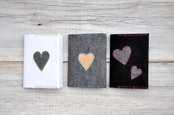 Hand stitched felt notebook covers