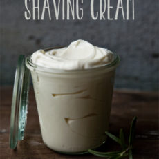 Homemade rosemary and mint shaving cream