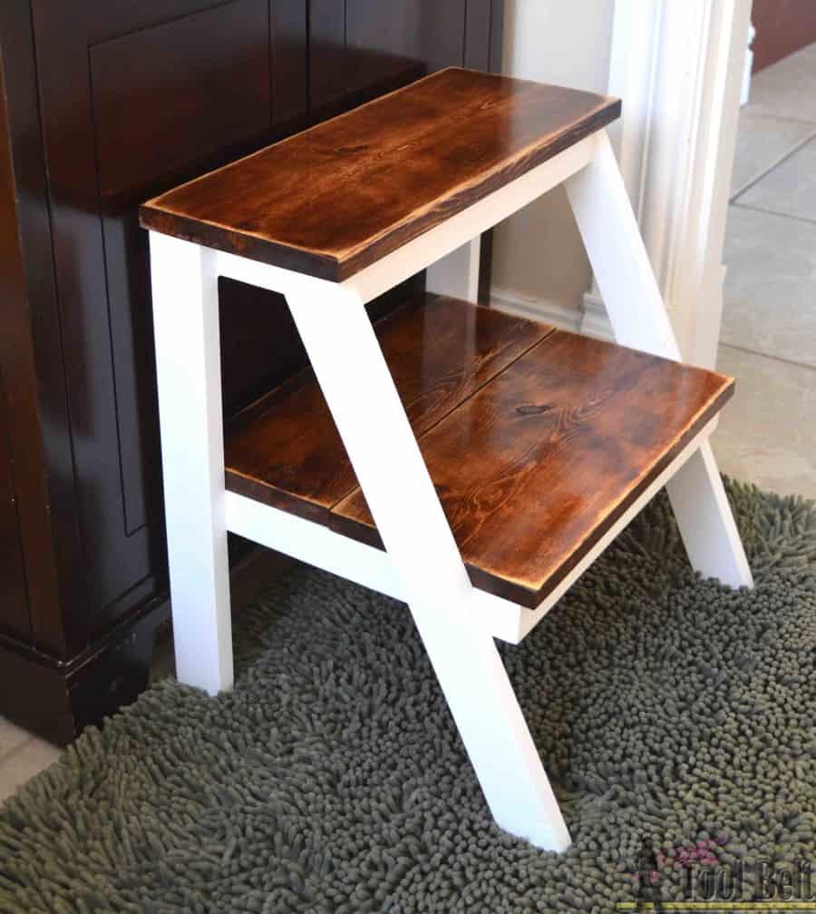 Homemade wooden kids' stepping stool