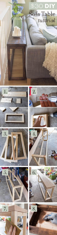 Homemade wooden sofa table
