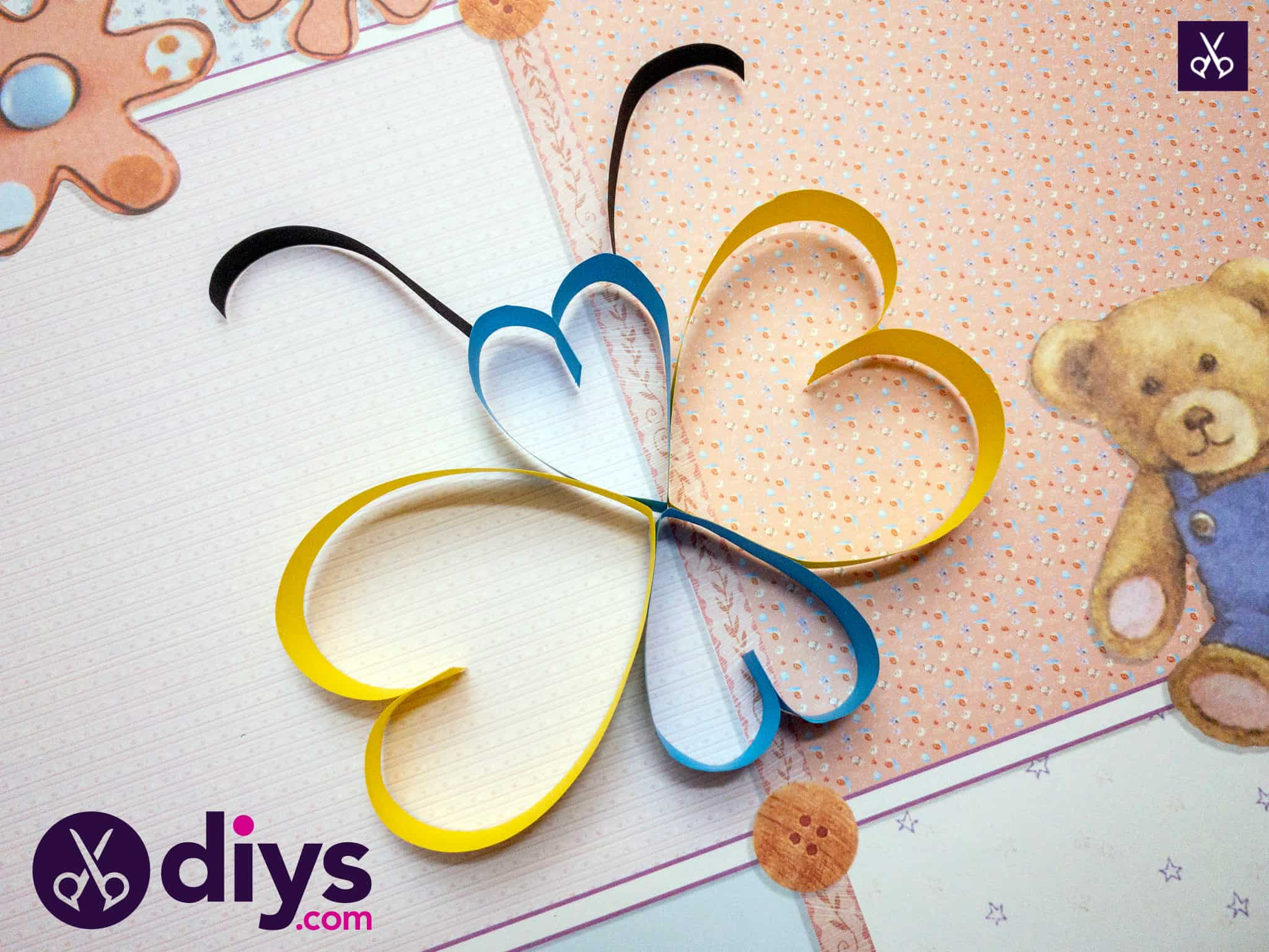 How to make a paper heart butterfly
