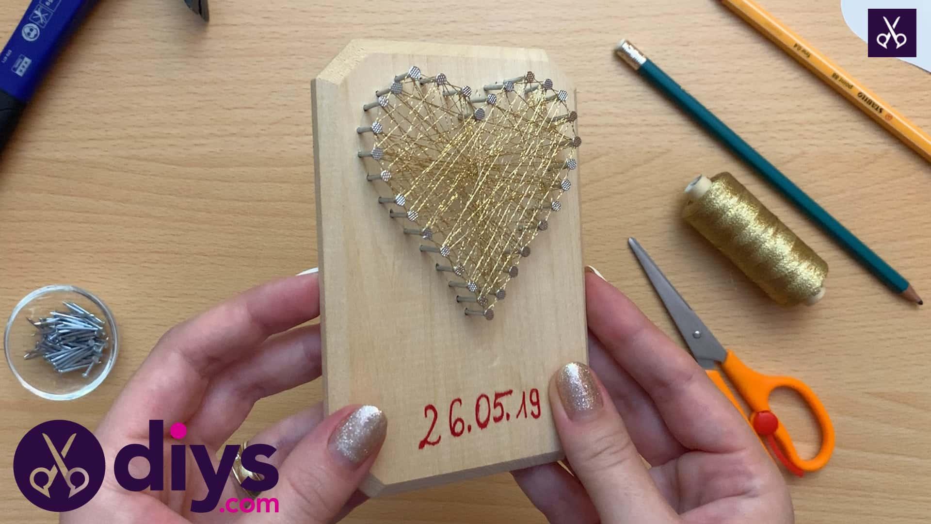 How to make mini heart string art angle