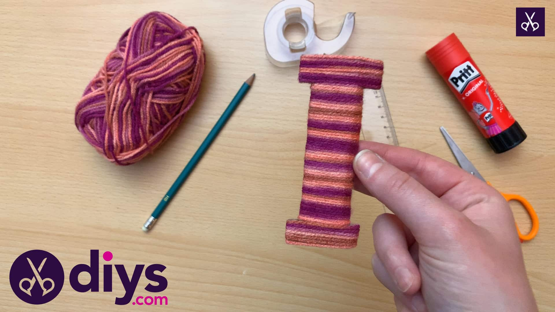 How to make yarn letters step 5
