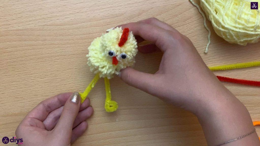 How to make a pom pom chick legs