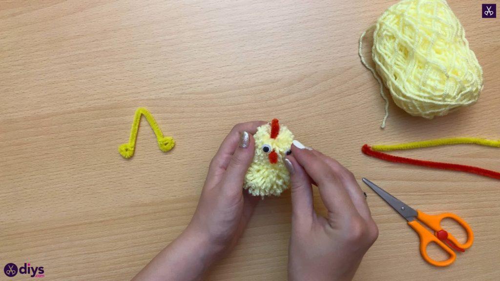 How to make a pom pom chick step 12