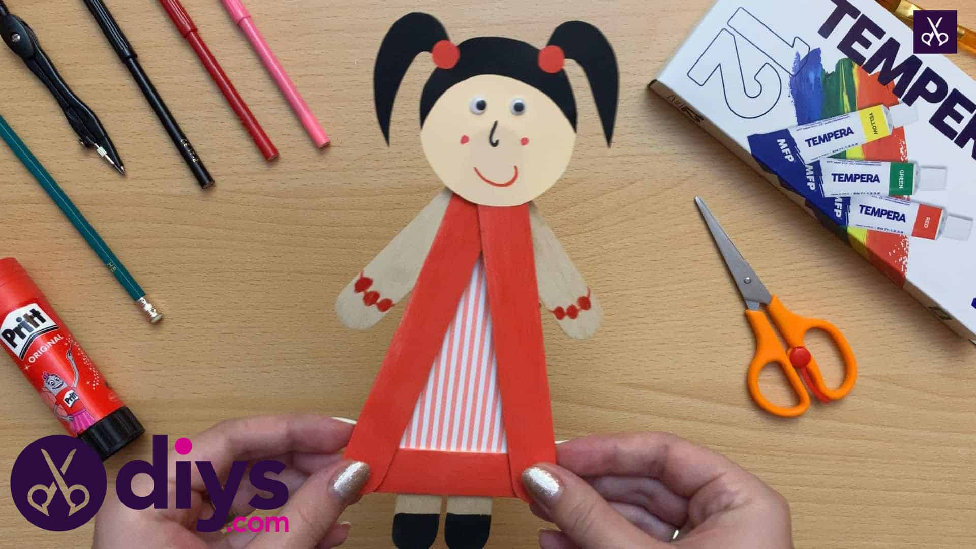 How to make a popsicle stick puppet kids craft