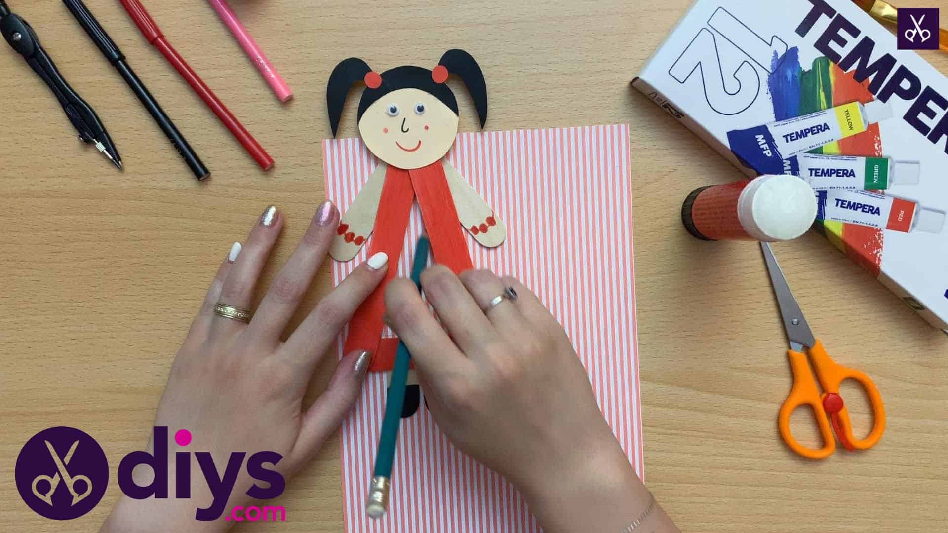 How to make a popsicle stick puppet pick