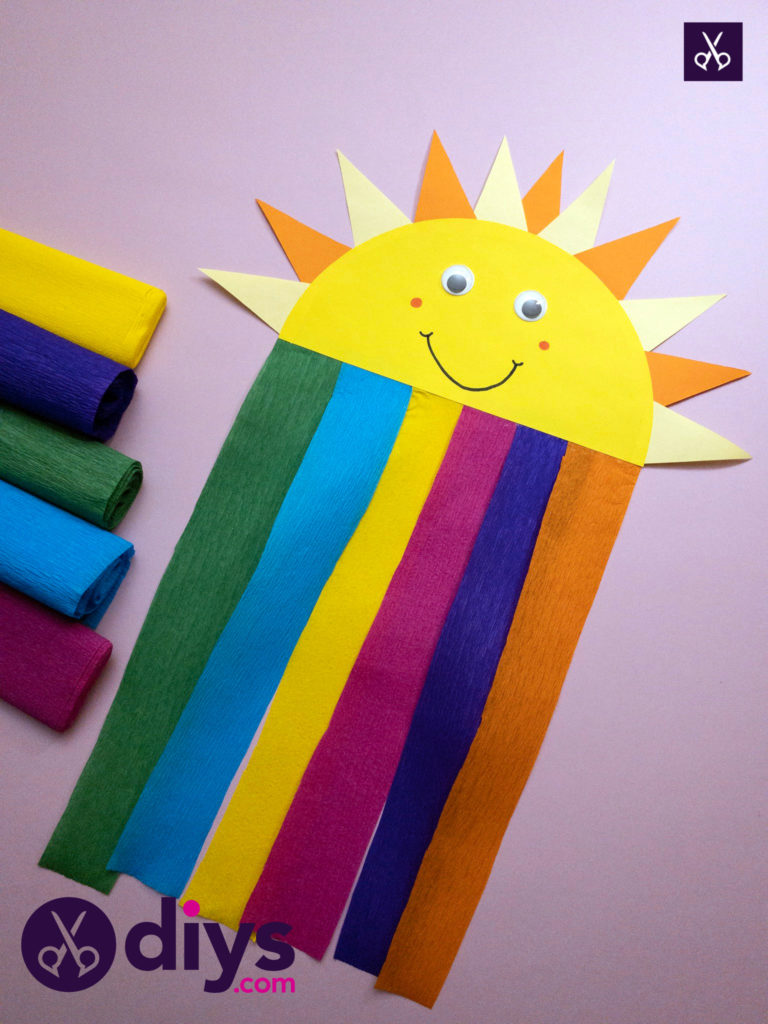 How to make a rainbow paper sun project