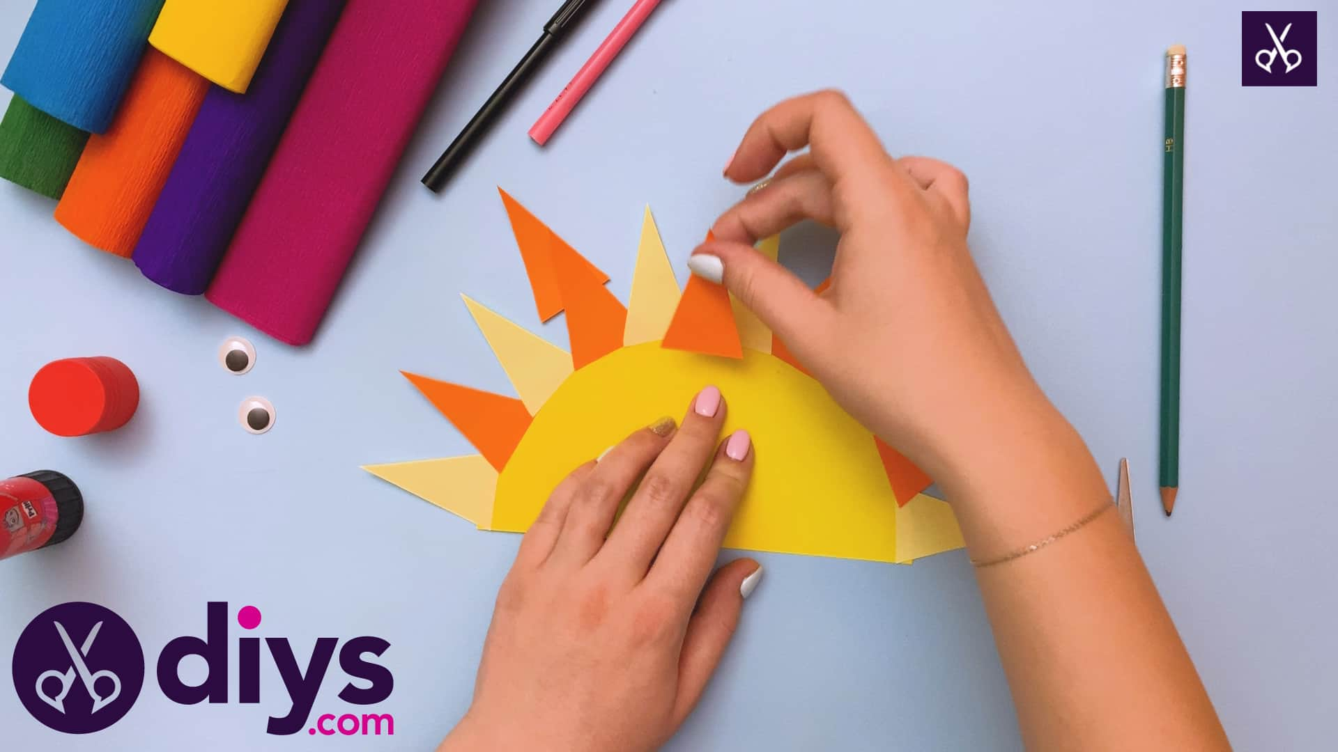 How to make a rainbow paper sun step 4