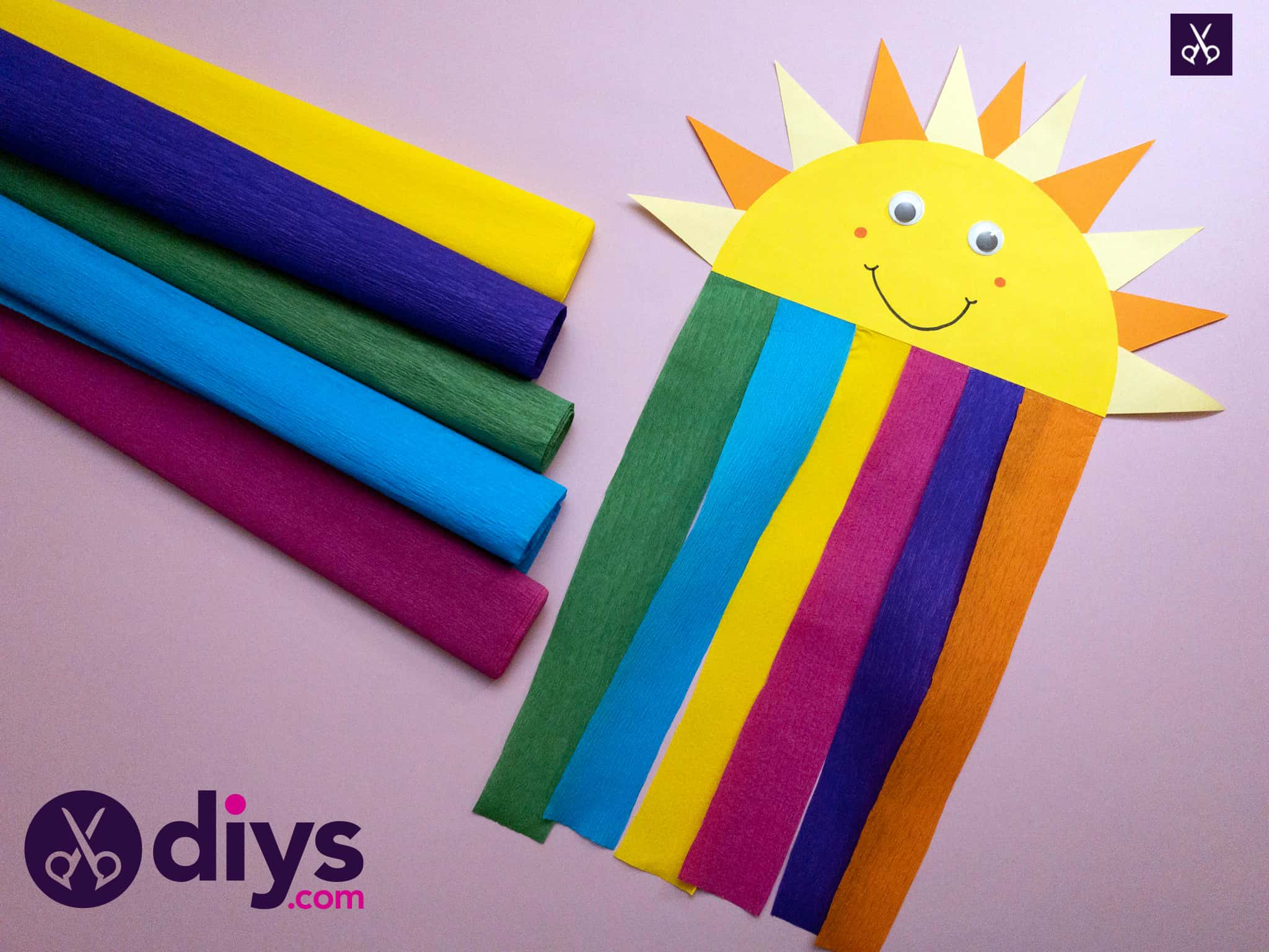 How to make a rainbow paper sun