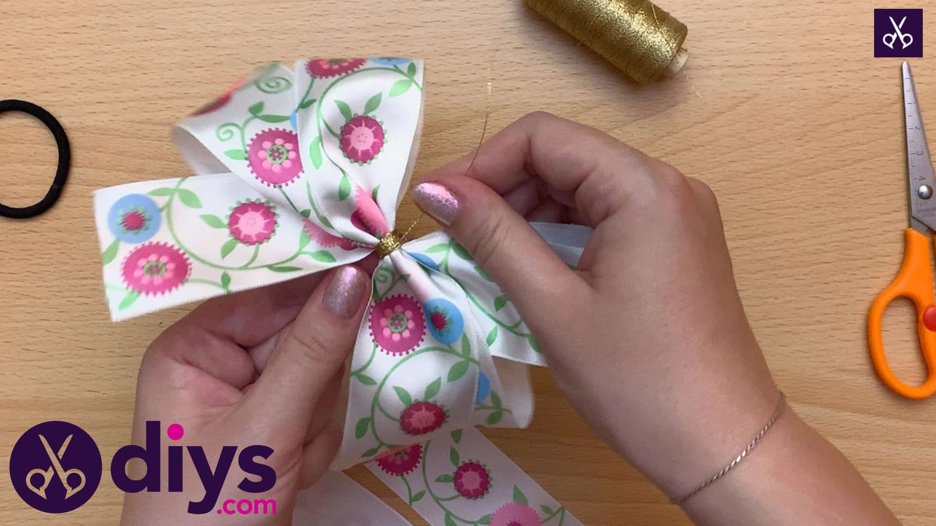 How to make a ribbon double bow step 6