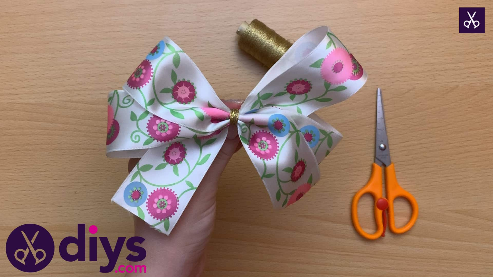 How to make a ribbon double bow step 9