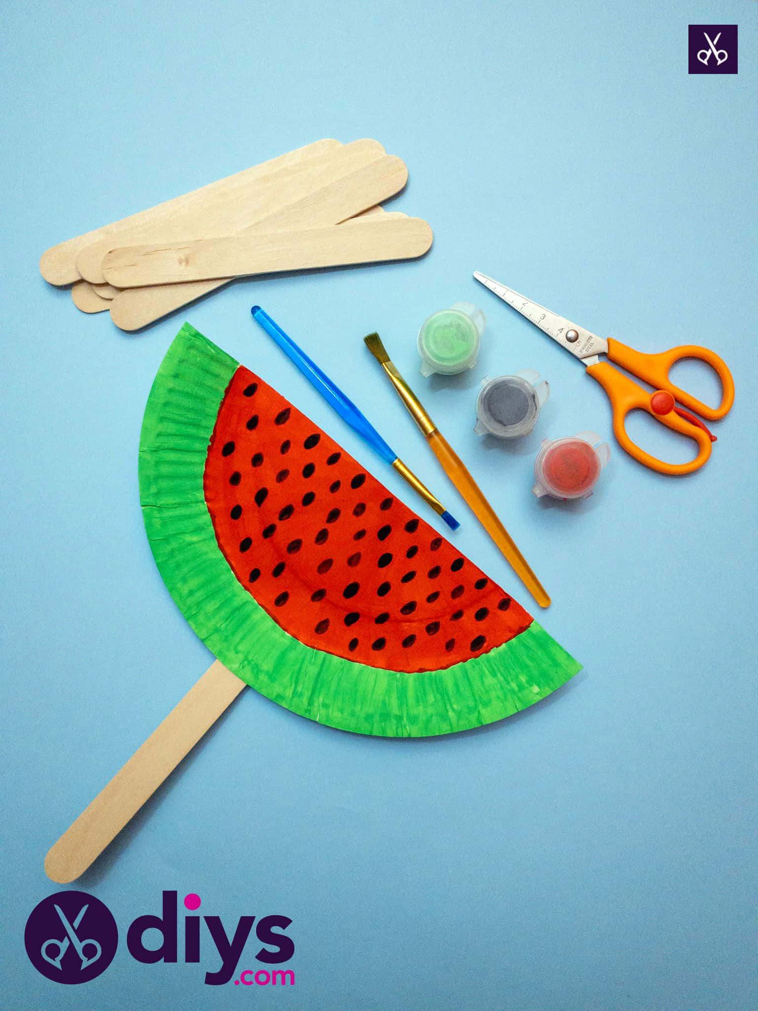 How to make a watermelon paper fan craft
