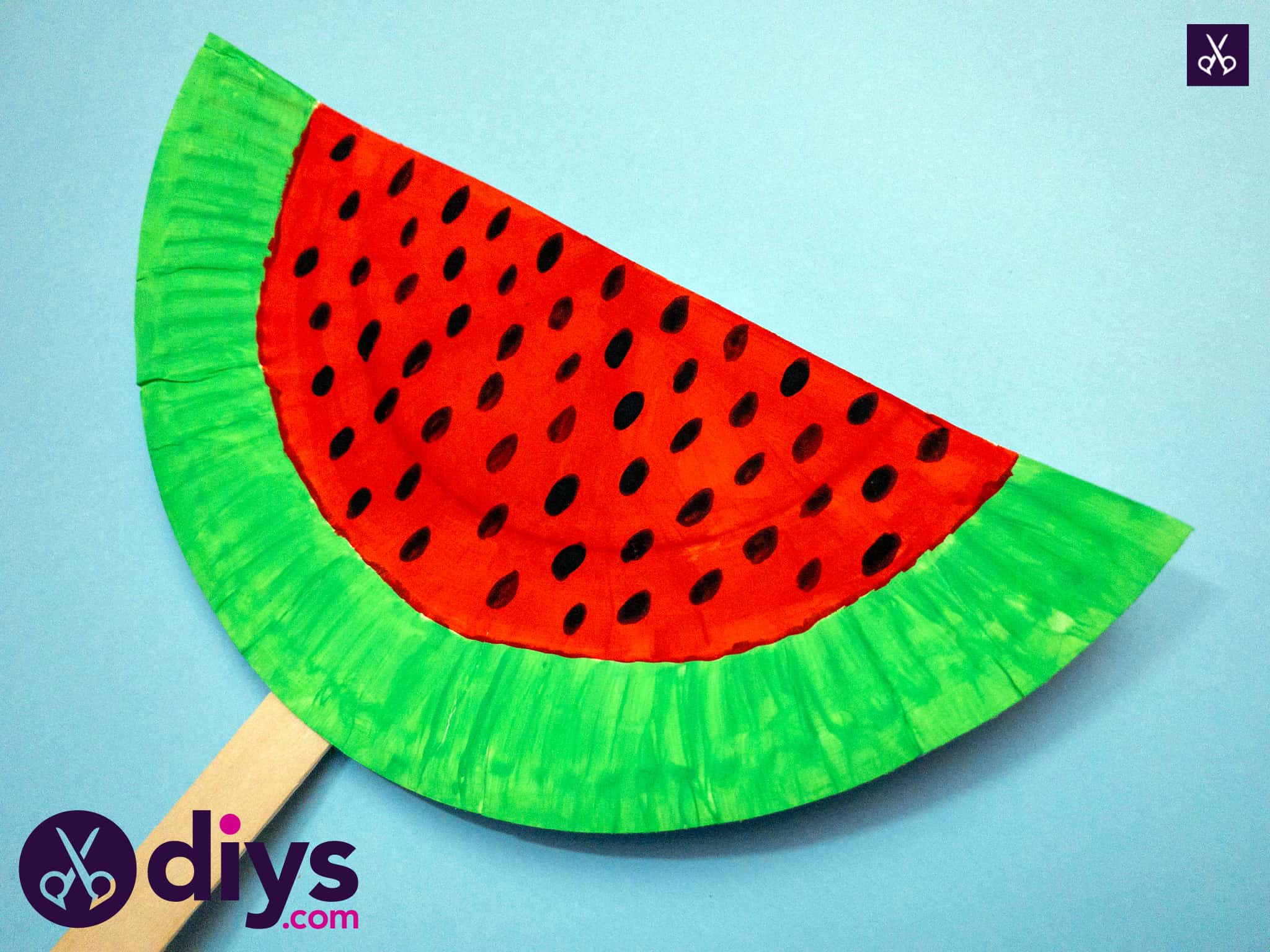 How to make a watermelon paper fan easy project