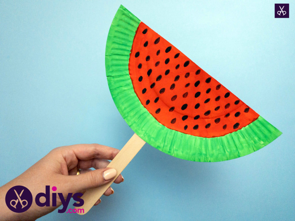 How to make a watermelon paper fan tutorial