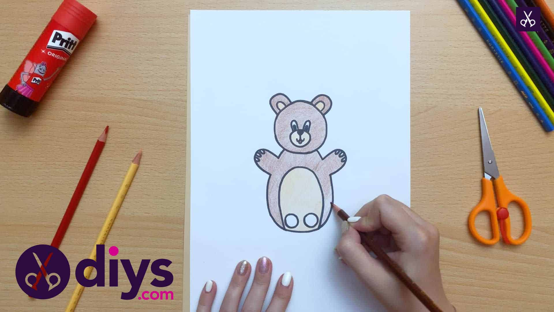 How to make an adorable bear finger puppet add colour