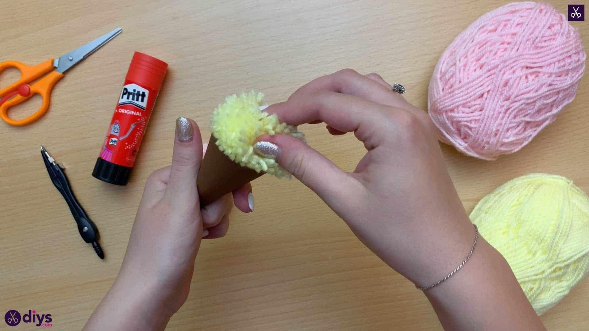 How to make an ice cream pom pom fill cone