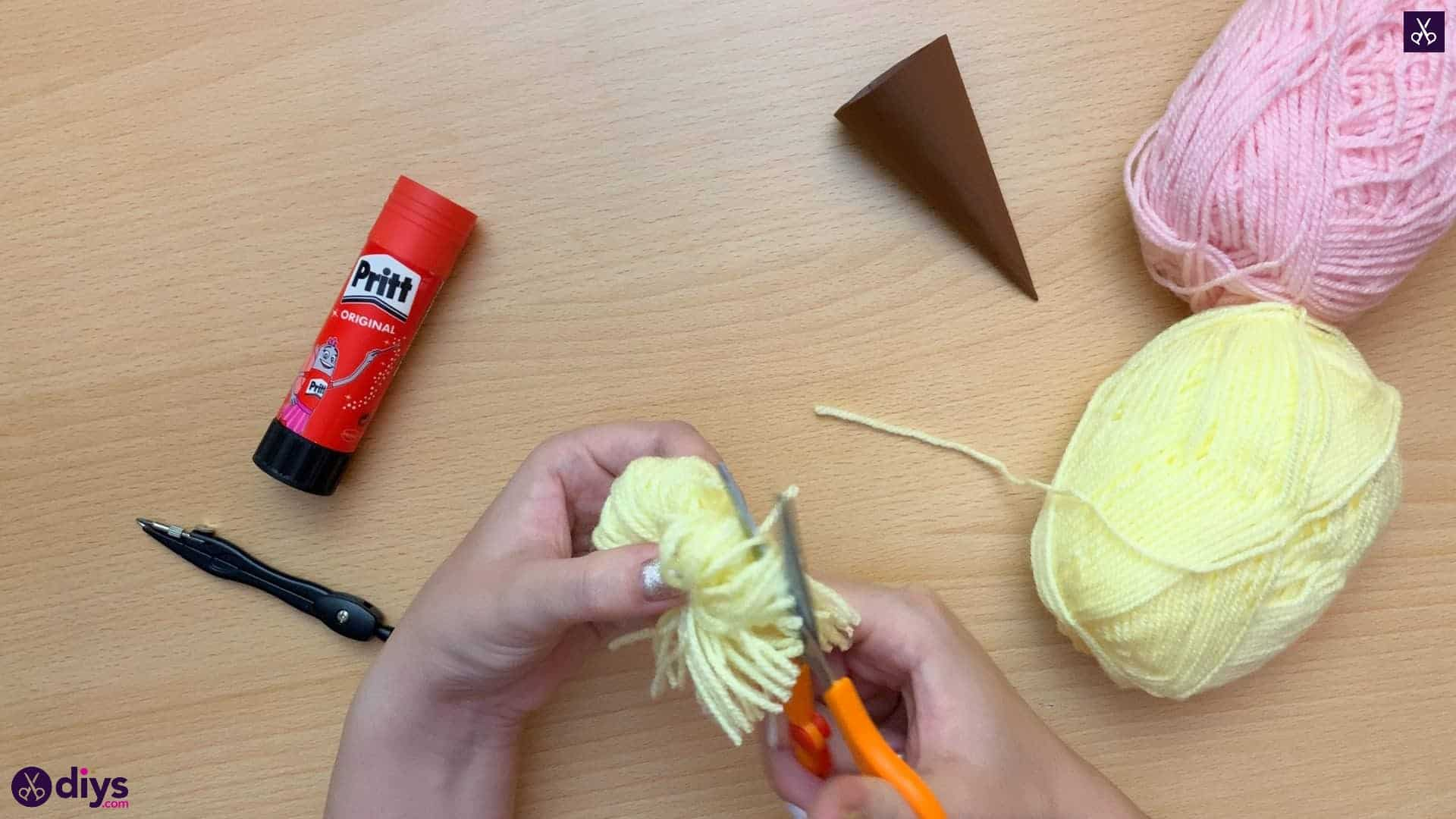 How to make an ice cream pom pom step 6