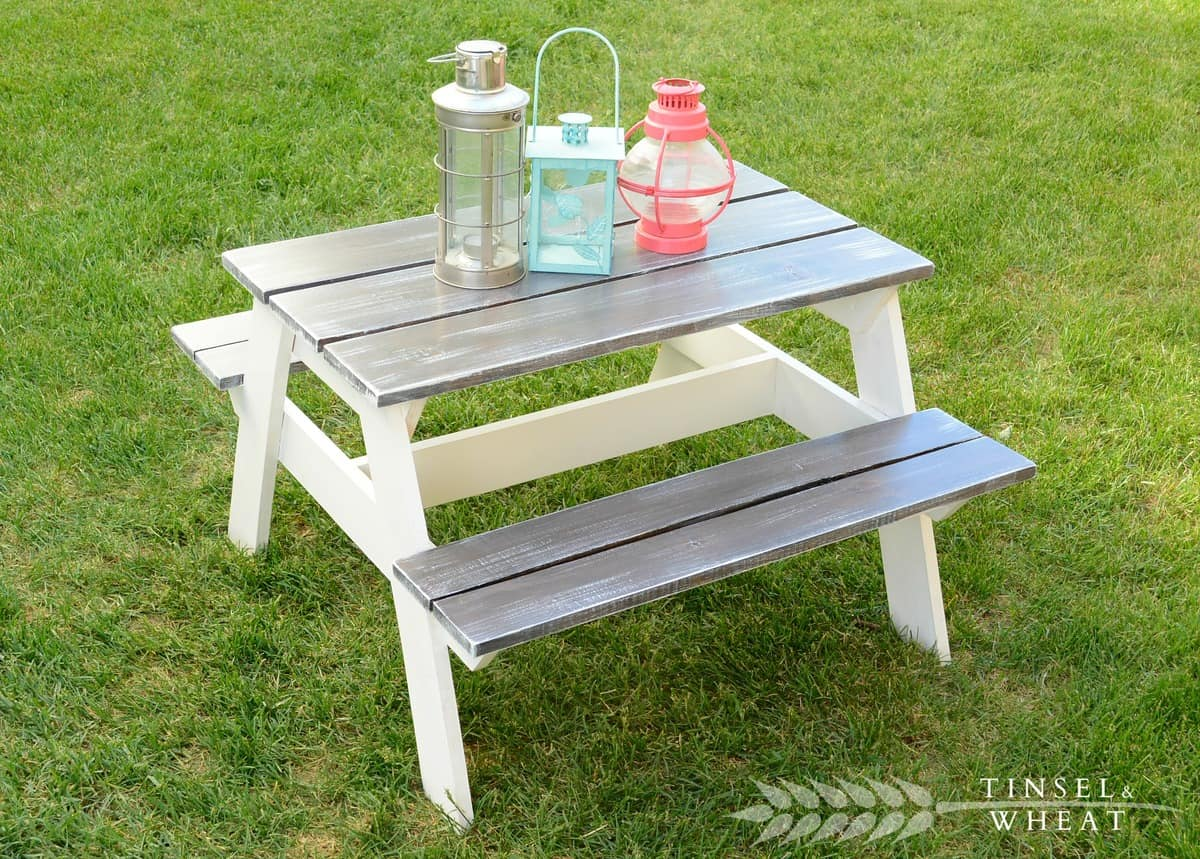 Kids' sized miniature picnic table