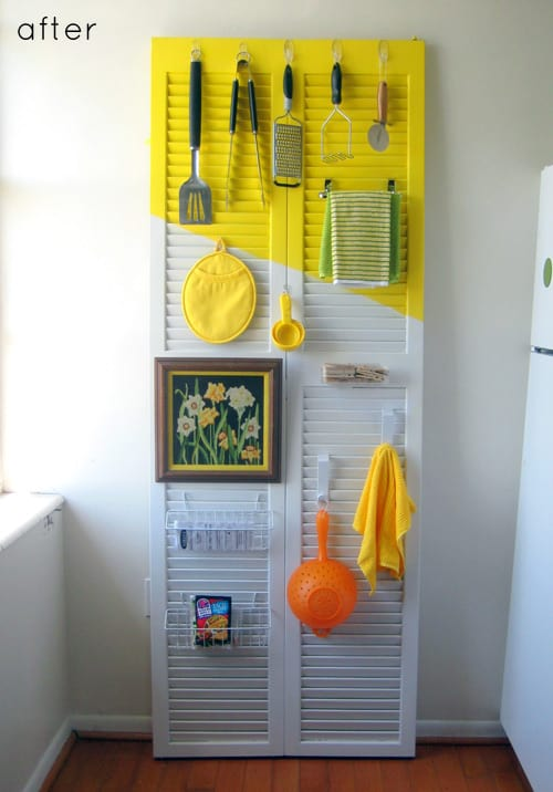 Kitchen item shutter storage