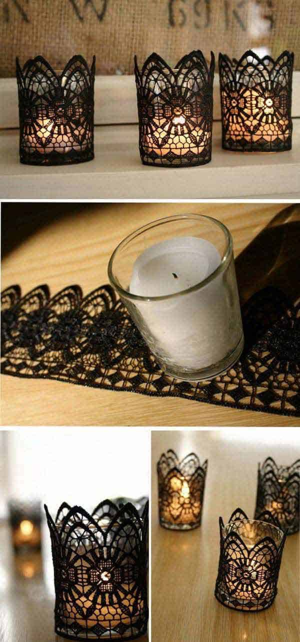 Lace covered tea light candle holders