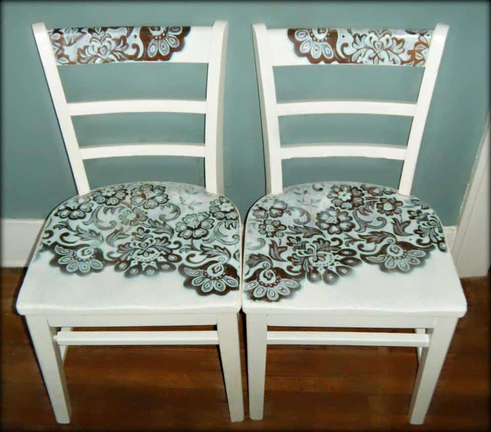 Lace stencilled chair