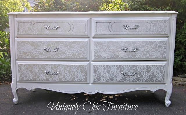 Lace stencilled dresser drawers