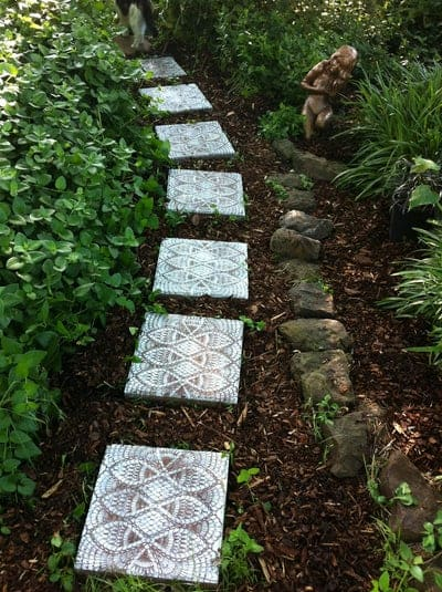 Lace stencilled stepping stones