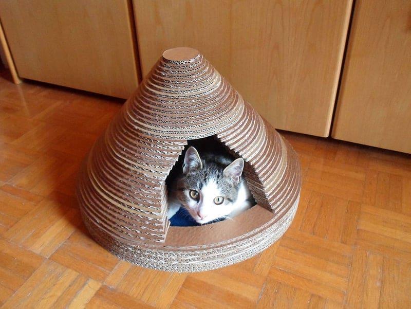 Layered cardboard cat temple