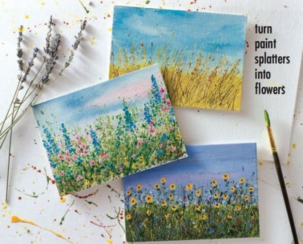 Let your paint splatters bloom into flower gardens
