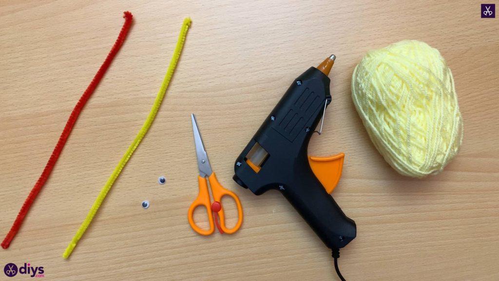Materials how to make a pom pom chick