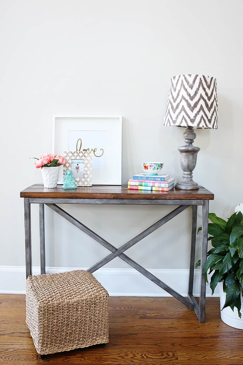 Metal and wood x base console table