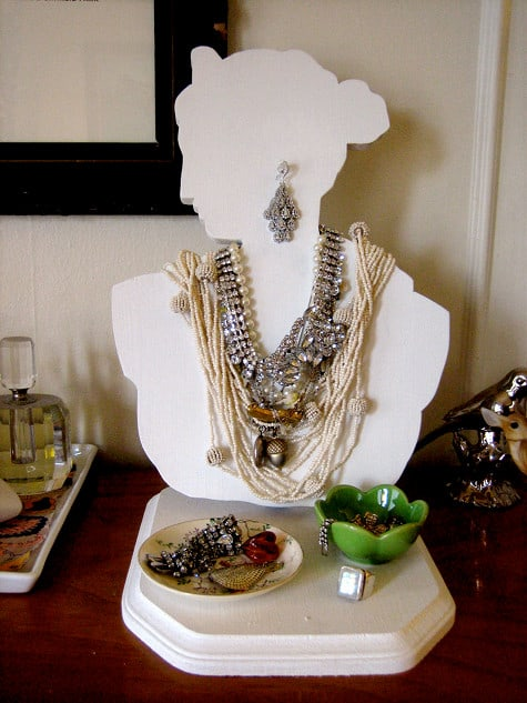 Old fashioned bust style jewelry organizer