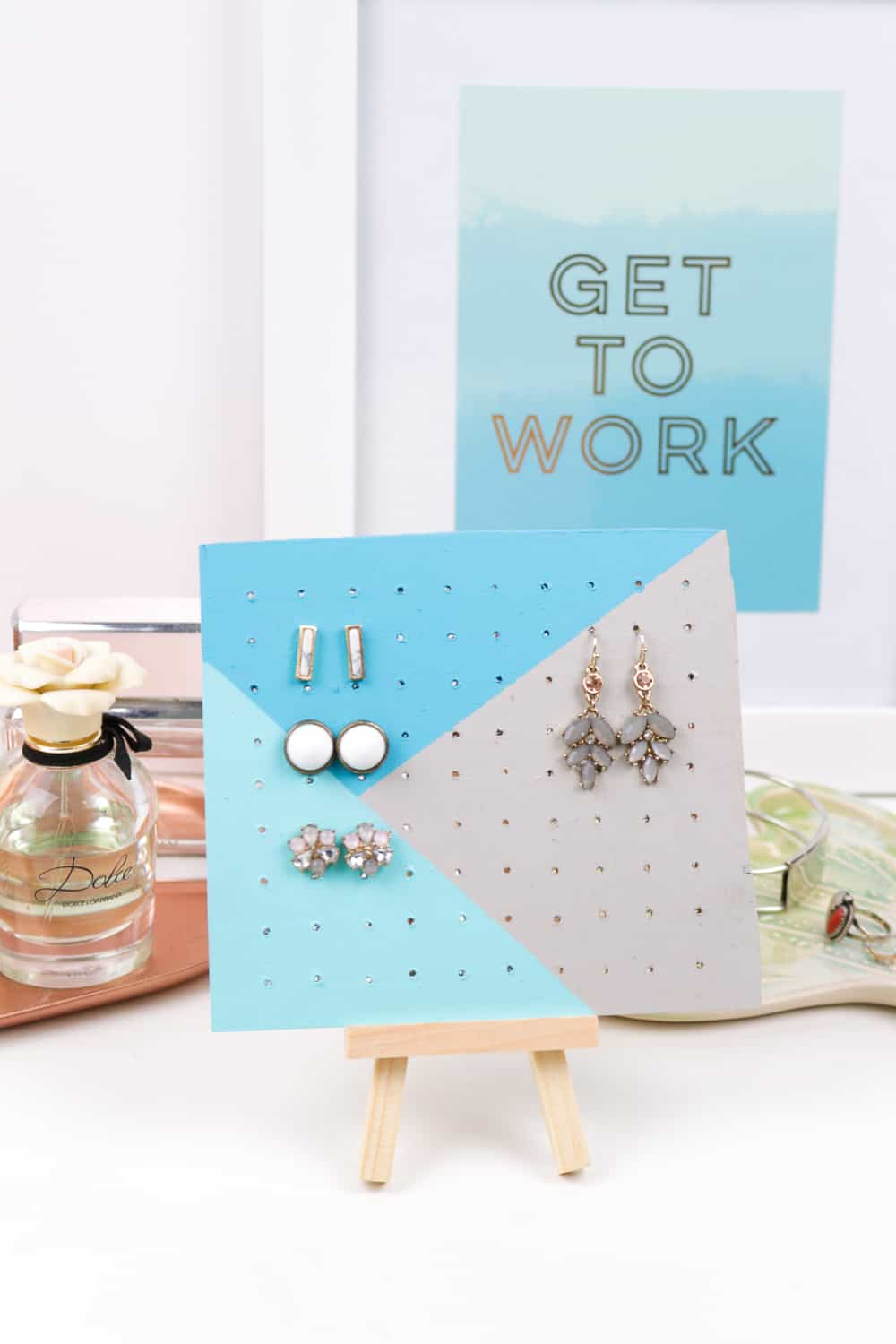 Painted pegboard style earring organizer