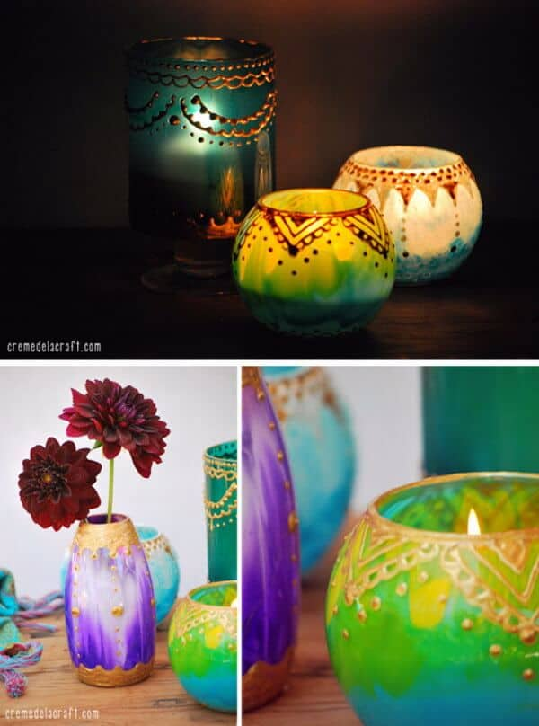Persian inspired hand painted votives and vases