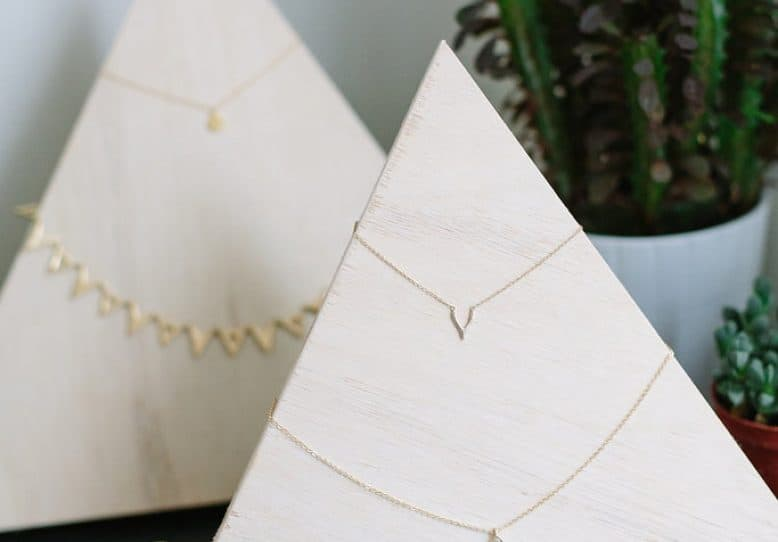 Plywood triangle earring organizer