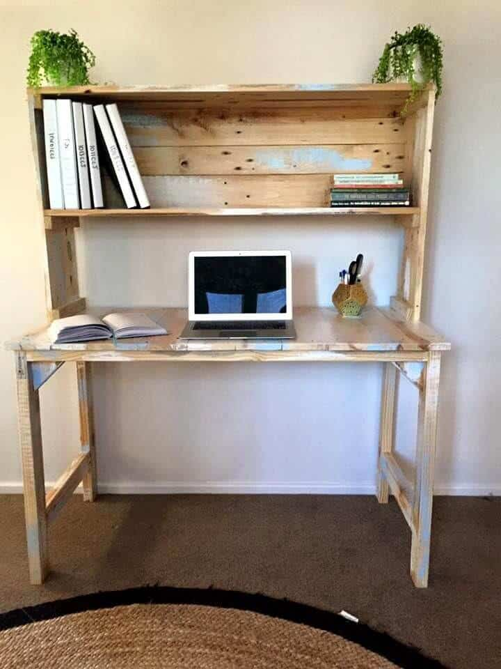 Potting bench desk made with distrressed wood