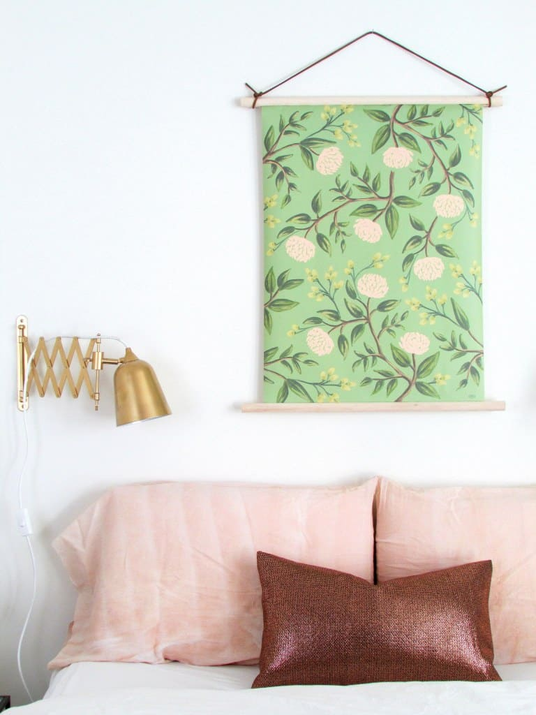 Pull down style botanical fabric wall hanging