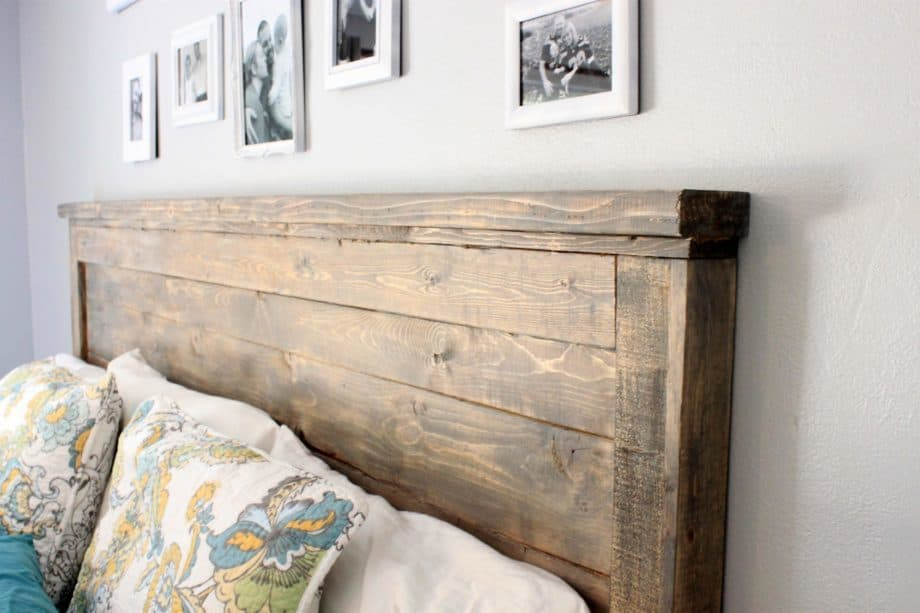 Reclaimed, unfinished wooden headboard